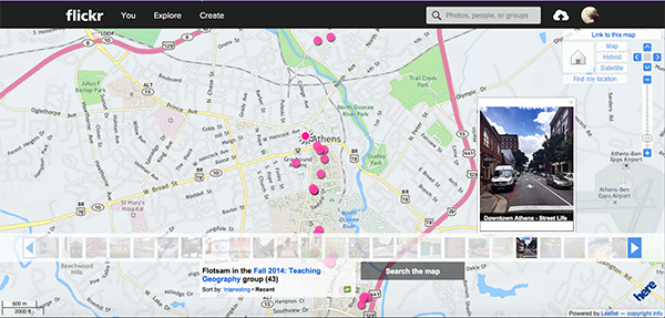 Figure 1. A Flickr map that is automatically generated when uploaded photographs contain geotags in their metadata.