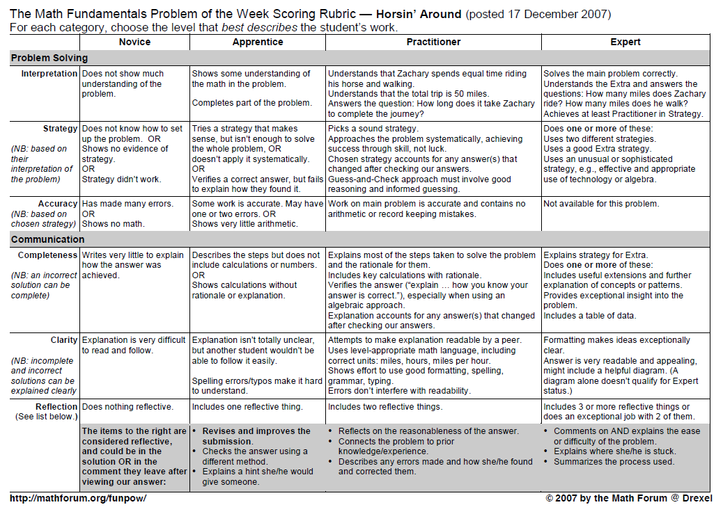 Example of a Problem-specific Rubric From the VFS Module 3