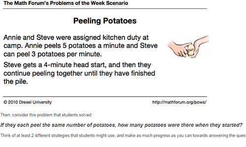 Figure 2. Peeling Potatoes Problem from the VFS Module 2.
